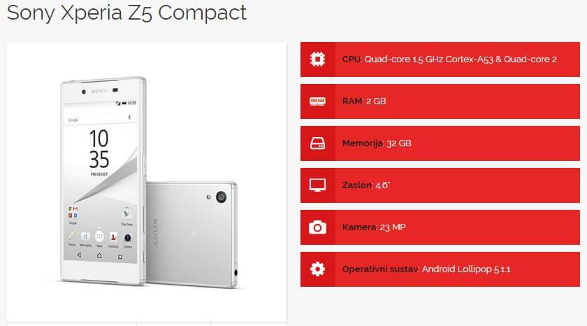 Sony Xperia Z5 Compact specifikacije